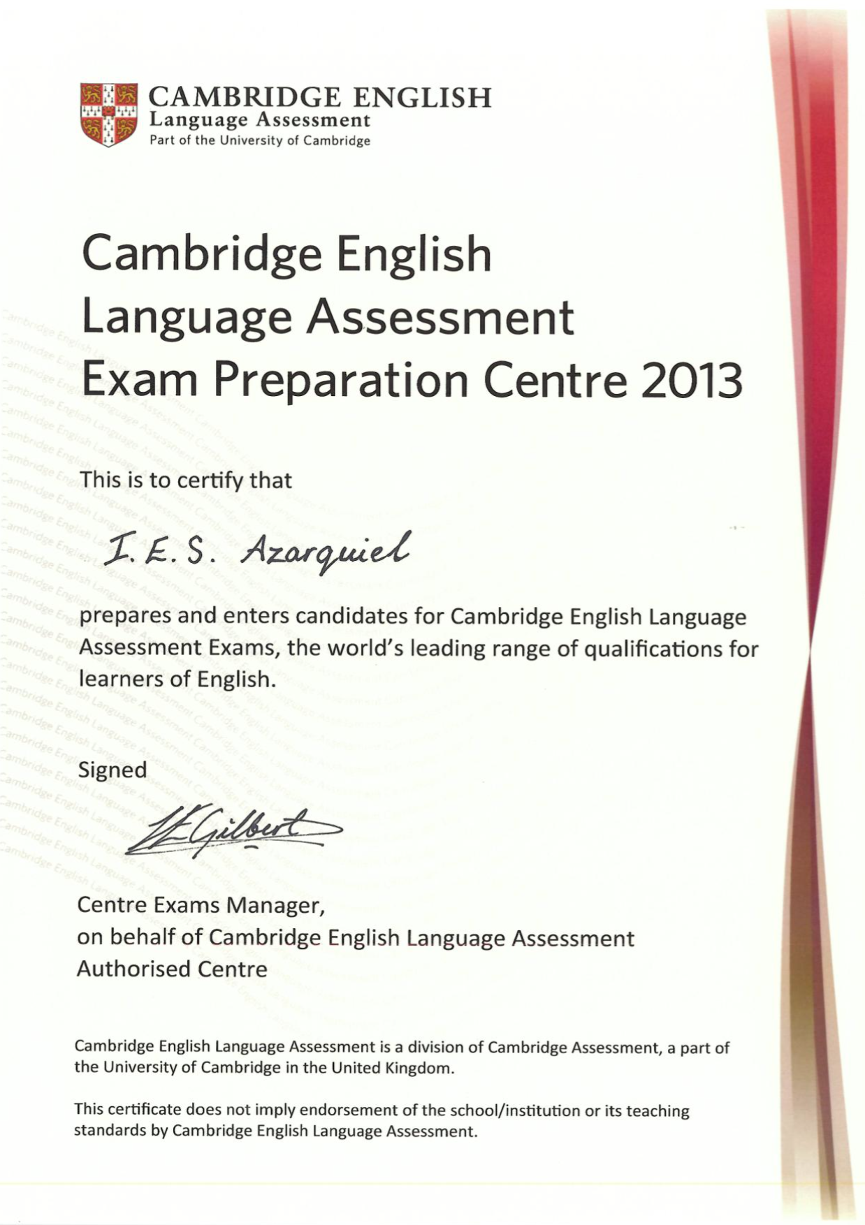 Certify Azarquiel Cambrige Centre